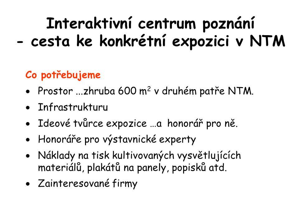 Interaktivní centrum poznání - cesta ke konkrétní expozici v NTM Co potřebujeme  Prostor...zhruba 600 m 2 v druhém patře NTM.