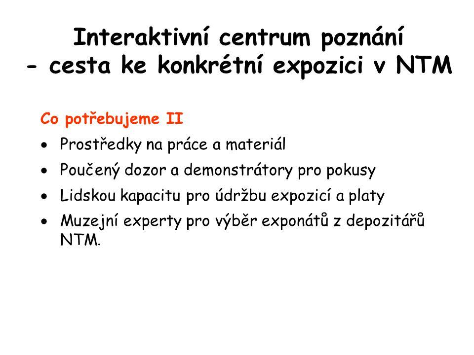 Interaktivní centrum poznání - cesta ke konkrétní expozici v NTM Co potřebujeme II  Prostředky na práce a materiál  Poučený dozor a demonstrátory pro pokusy  Lidskou kapacitu pro údržbu expozicí a platy  Muzejní experty pro výběr exponátů z depozitářů NTM.