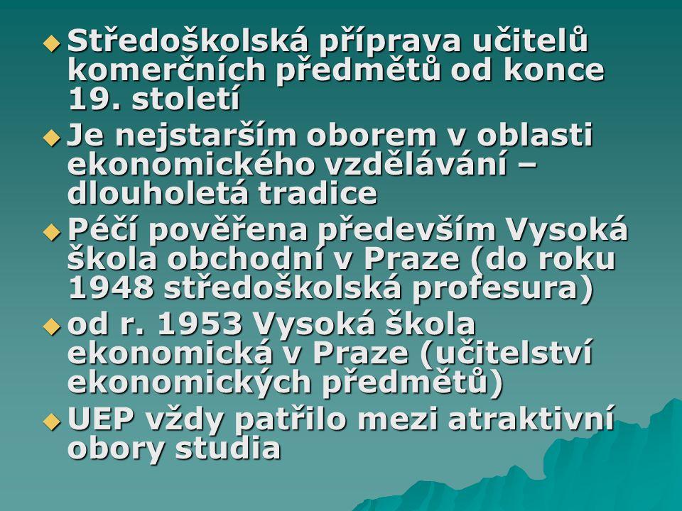  Středoškolská příprava učitelů komerčních předmětů od konce 19.