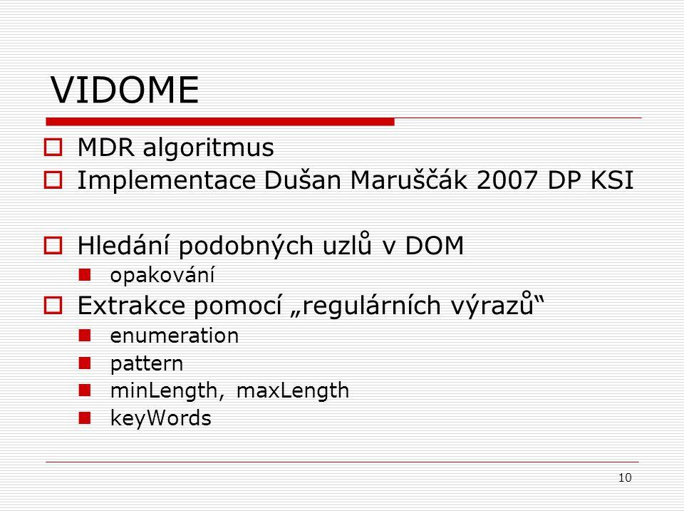 """10 VIDOME  MDR algoritmus  Implementace Dušan Maruščák 2007 DP KSI  Hledání podobných uzlů v DOM opakování  Extrakce pomocí """"regulárních výrazů enumeration pattern minLength, maxLength keyWords"""