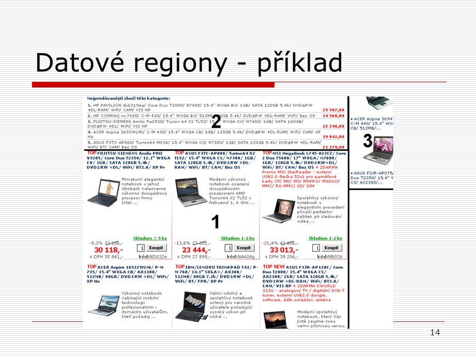 14 Datové regiony - příklad