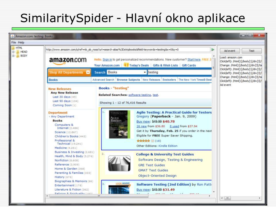 24 SimilaritySpider - Hlavní okno aplikace