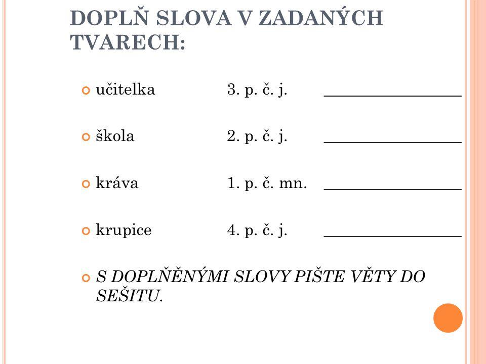 DOPLŇ SLOVA V ZADANÝCH TVARECH: učitelka3. p. č.
