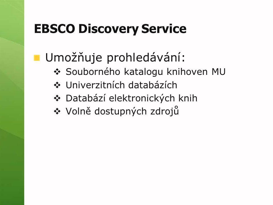 EBSCO Discovery Service Umožňuje prohledávání:  Souborného katalogu knihoven MU  Univerzitních databázích  Databází elektronických knih  Volně dos