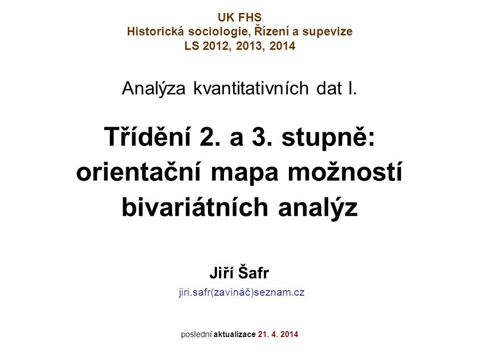 Třídění 2. a 3. stupně: orientační mapa možností bivariátních analýz UK FHS Historická sociologie, Řízení a supevize LS 2012, 2013, 2014 Jiří Šafr jir