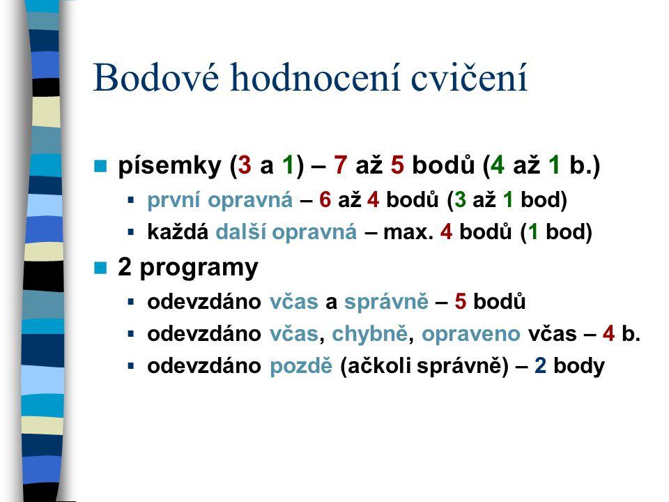 Bodové hodnocení cvičení písemky (3 a 1) – 7 až 5 bodů (4 až 1 b.)  první opravná – 6 až 4 bodů (3 až 1 bod)  každá další opravná – max. 4 bodů (1 b