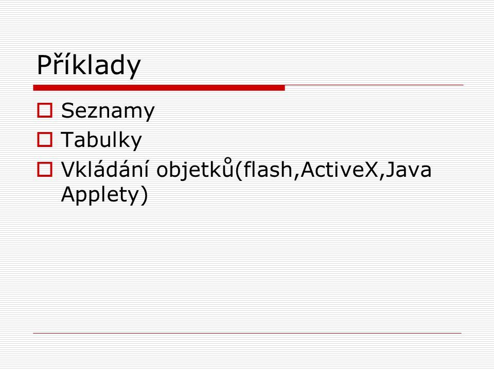 Příklady  Seznamy  Tabulky  Vkládání objetků(flash,ActiveX,Java Applety)
