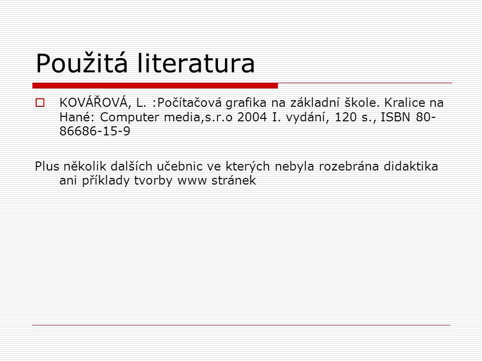 Použitá literatura  KOVÁŘOVÁ, L. :Počítačová grafika na základní škole.