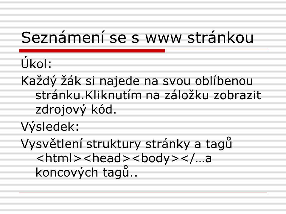 Seznámení se s www stránkou Úkol: Každý žák si najede na svou oblíbenou stránku.Kliknutím na záložku zobrazit zdrojový kód.