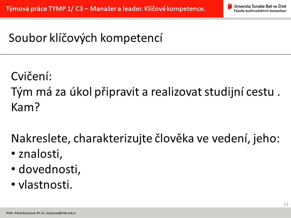 13 PhDr. Pavla Kotyzová, Ph. D., kotyzova@fmk.utb.cz Soubor klíčových kompetencí Týmová práce TYMP 1/ C3 – Manažer a leader. Klíčové kompetence. Cviče