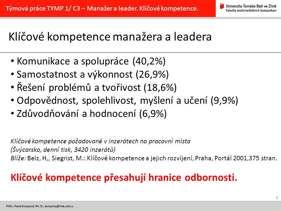 6 PhDr. Pavla Kotyzová, Ph. D., kotyzova@fmk.utb.cz Klíčové kompetence manažera a leadera Týmová práce TYMP 1/ C3 – Manažer a leader. Klíčové kompeten