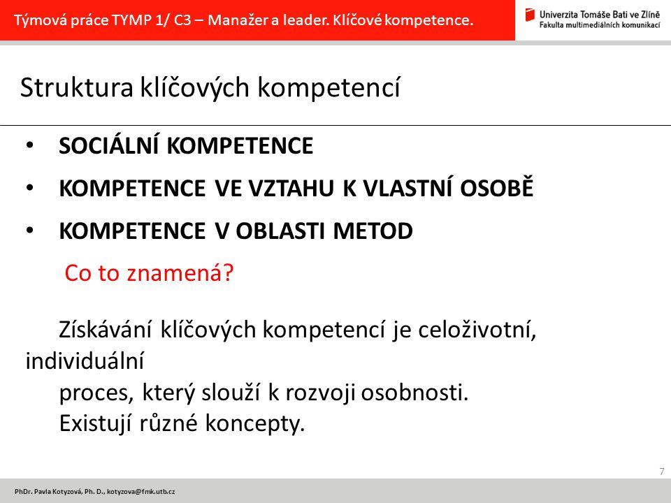 7 PhDr. Pavla Kotyzová, Ph. D., kotyzova@fmk.utb.cz Struktura klíčových kompetencí Týmová práce TYMP 1/ C3 – Manažer a leader. Klíčové kompetence. SOC