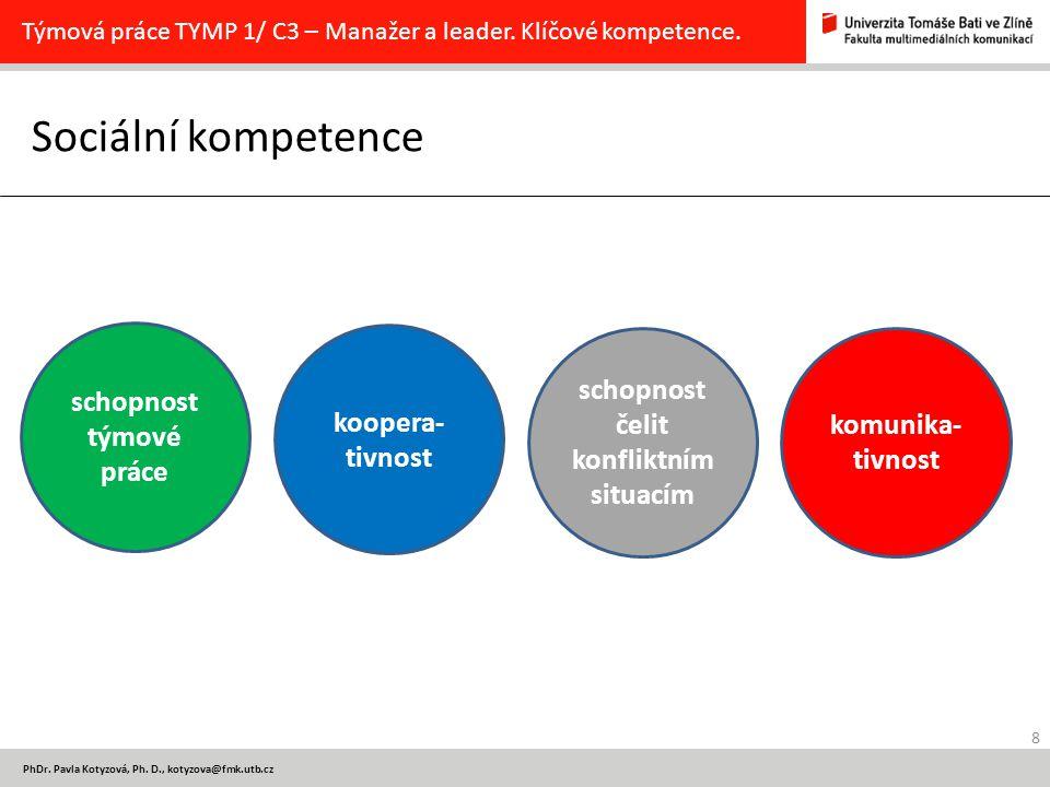8 PhDr. Pavla Kotyzová, Ph. D., kotyzova@fmk.utb.cz Sociální kompetence Týmová práce TYMP 1/ C3 – Manažer a leader. Klíčové kompetence. komunika- tivn