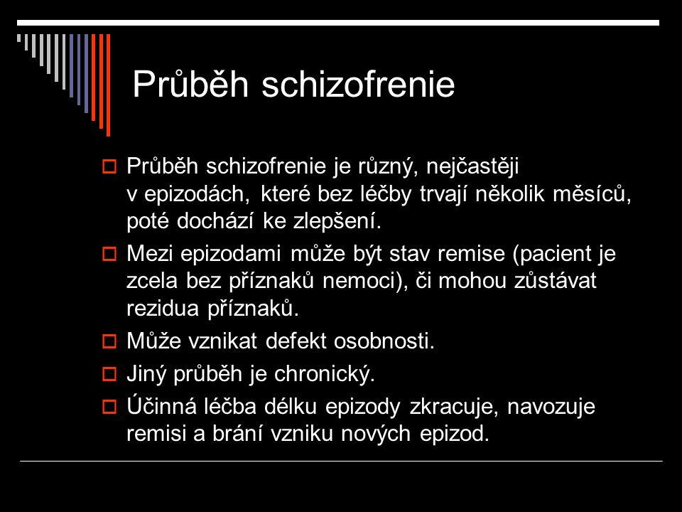 Průběh schizofrenie  Průběh schizofrenie je různý, nejčastěji v epizodách, které bez léčby trvají několik měsíců, poté dochází ke zlepšení.  Mezi ep