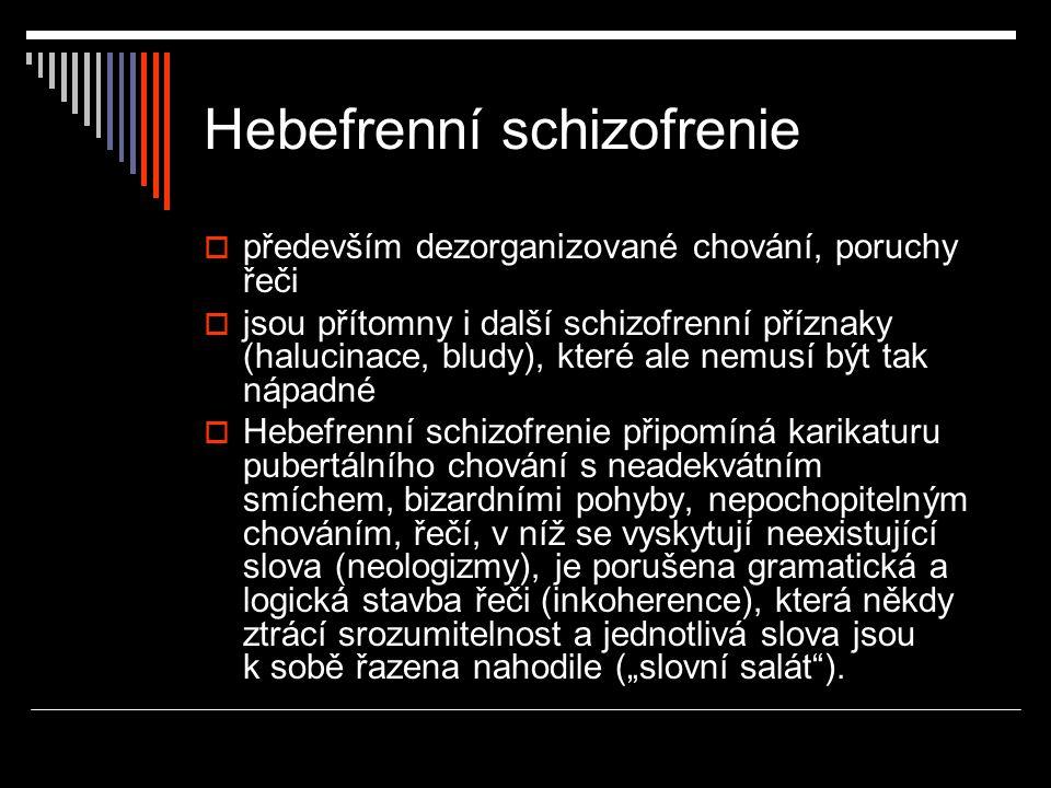 Hebefrenní schizofrenie  především dezorganizované chování, poruchy řeči  jsou přítomny i další schizofrenní příznaky (halucinace, bludy), které ale