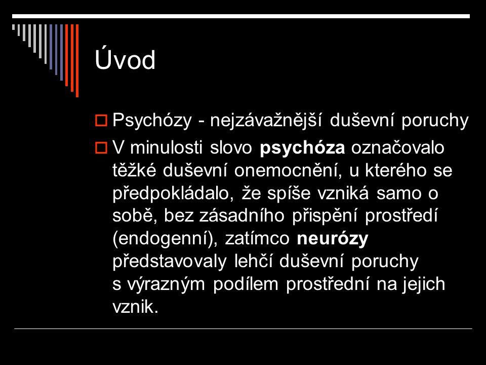 Úvod  Psychózy - nejzávažnější duševní poruchy  V minulosti slovo psychóza označovalo těžké duševní onemocnění, u kterého se předpokládalo, že spíše