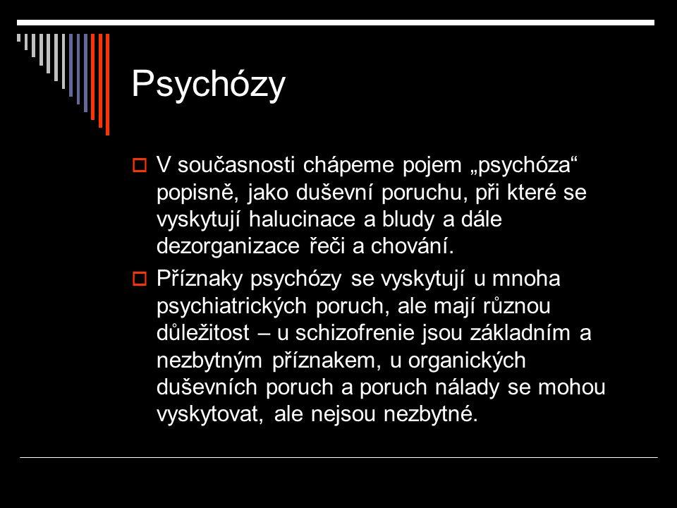 """Psychózy  V současnosti chápeme pojem """"psychóza"""" popisně, jako duševní poruchu, při které se vyskytují halucinace a bludy a dále dezorganizace řeči a"""