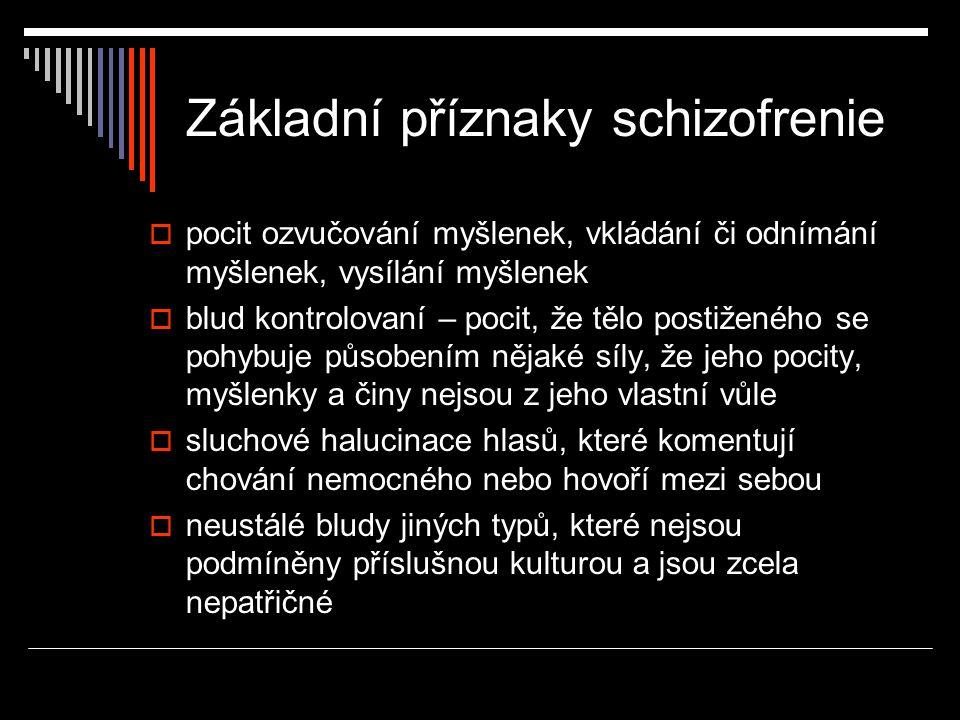 Katatonní schizofrenie  Kromě základních příznaků schizofrenie především nápadné pohybové jevy  Buď útlum všech pohybů, pacient nehybně leží, nepřijímá někdy potravu a tekutiny, ale vnímá své okolí, není v bezvědomí (katatonní stupor)  Nehovoří (mutismus), někdy ale automaticky vykonává některé povely, které mu vyšetřující řekne (povelový automatizmus)  Jeho tělo působí jako strnulé, pasivně ohebné (vosková ohebnost)  V lůžku i jinde někdy nemocný drží končetiny a hlavu v nepřirozených polohách, do kterých jsou mu vyšetřujícím umístěny (nástavy), typický je příznak fiktivního polštáře, kdy pacient leží se zvednutou hlavou, jakoby pod ní měl polštář.