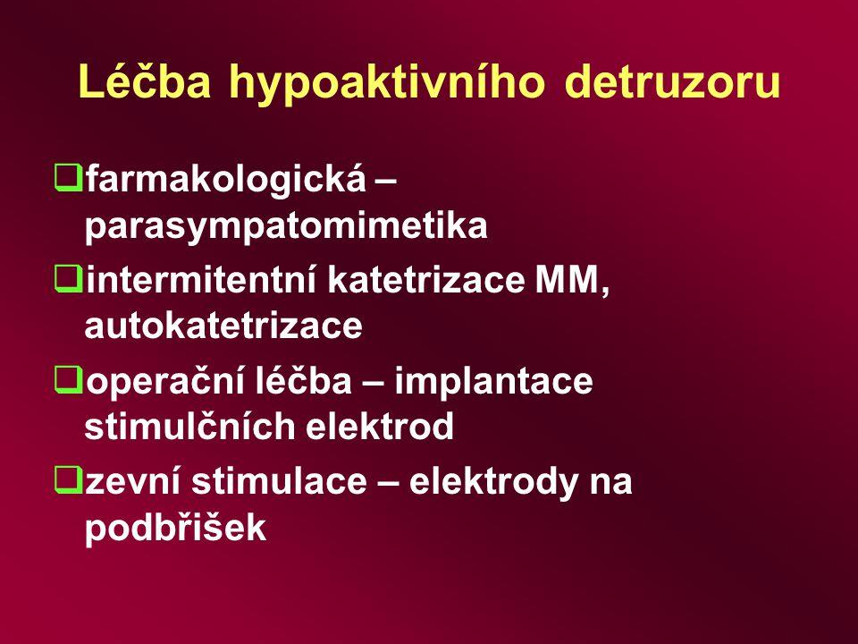 Léčba hypoaktivního detruzoru  farmakologická – parasympatomimetika  intermitentní katetrizace MM, autokatetrizace  operační léčba – implantace sti