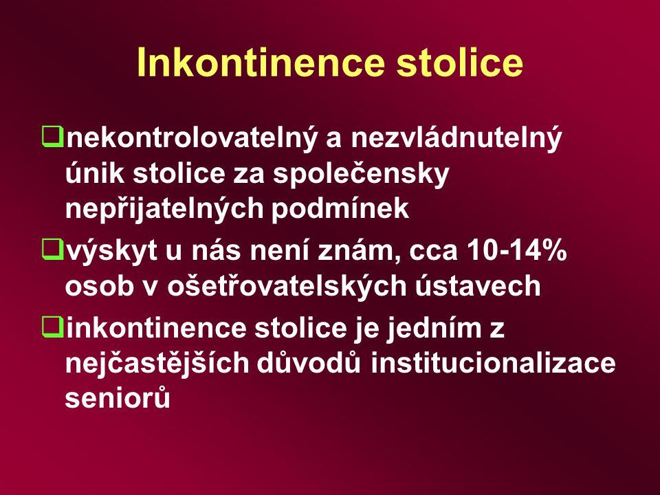 Inkontinence stolice  nekontrolovatelný a nezvládnutelný únik stolice za společensky nepřijatelných podmínek  výskyt u nás není znám, cca 10-14% oso