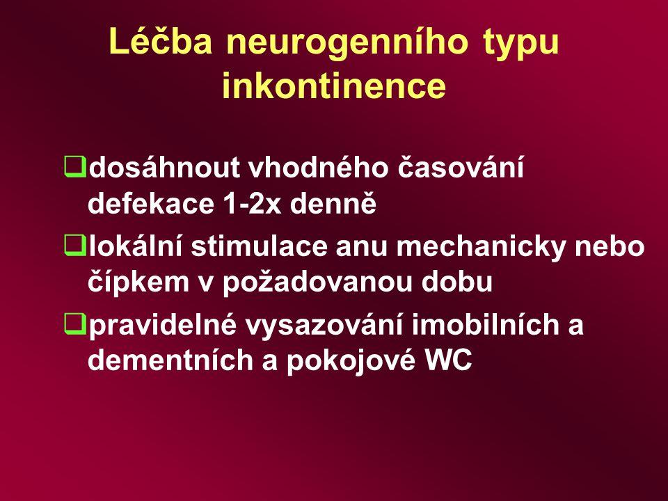 Léčba neurogenního typu inkontinence  dosáhnout vhodného časování defekace 1-2x denně  lokální stimulace anu mechanicky nebo čípkem v požadovanou do