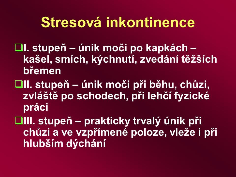 Stresová inkontinence  I. stupeň – únik moči po kapkách – kašel, smích, kýchnutí, zvedání těžších břemen  II. stupeň – únik moči při běhu, chůzi, zv