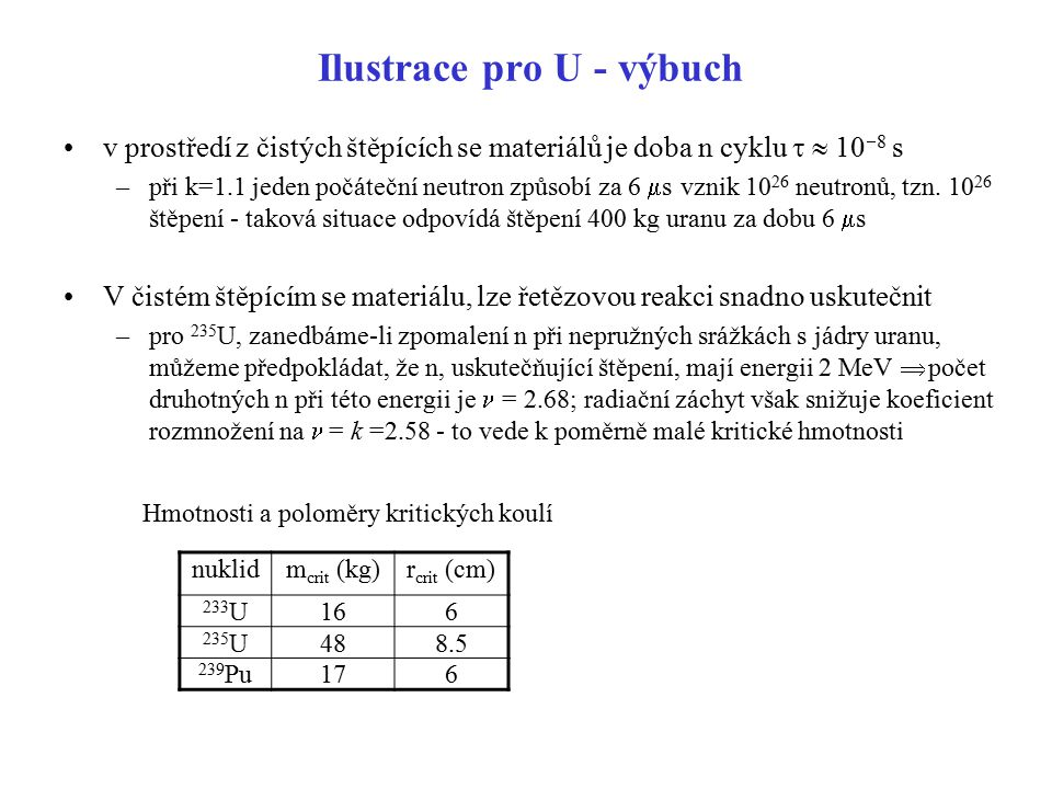 Ilustrace pro U - výbuch v prostředí z čistých štěpících se materiálů je doba n cyklu   10  8 s –při k=1.1 jeden počáteční neutron způsobí za 6  s