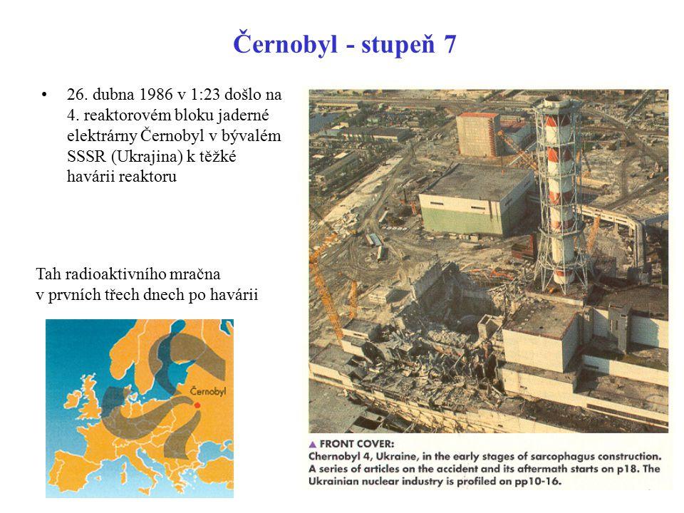 Černobyl - stupeň 7 26. dubna 1986 v 1:23 došlo na 4. reaktorovém bloku jaderné elektrárny Černobyl v bývalém SSSR (Ukrajina) k těžké havárii reaktoru