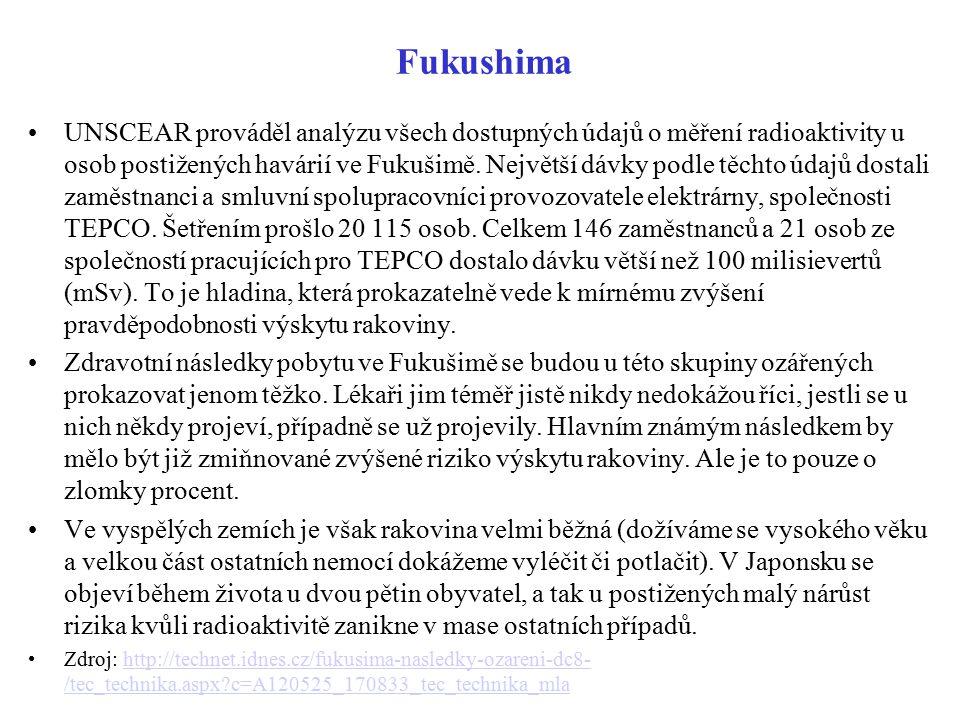 Fukushima UNSCEAR prováděl analýzu všech dostupných údajů o měření radioaktivity u osob postižených havárií ve Fukušimě. Největší dávky podle těchto ú
