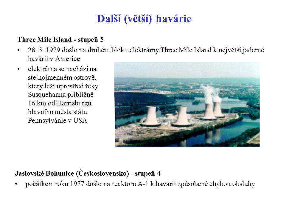 Další (větší) havárie Three Mile Island - stupeň 5 28. 3. 1979 došlo na druhém bloku elektrárny Three Mile Island k největší jaderné havárii v Americe
