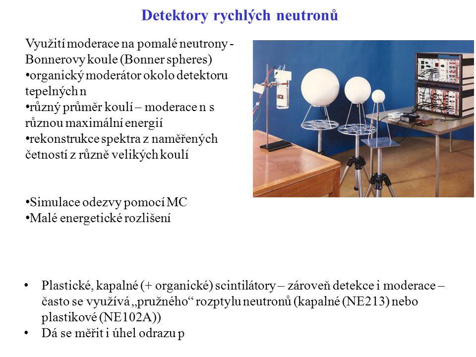 Detektory rychlých neutronů Využití moderace na pomalé neutrony - Bonnerovy koule (Bonner spheres) organický moderátor okolo detektoru tepelných n růz