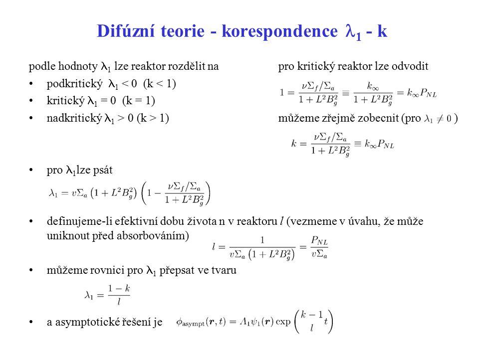 Difúzní teorie - korespondence 1 - k podle hodnoty 1 lze reaktor rozdělit na podkritický 1 < 0 (k < 1) kritický 1 = 0 (k = 1) nadkritický 1 > 0 (k > 1