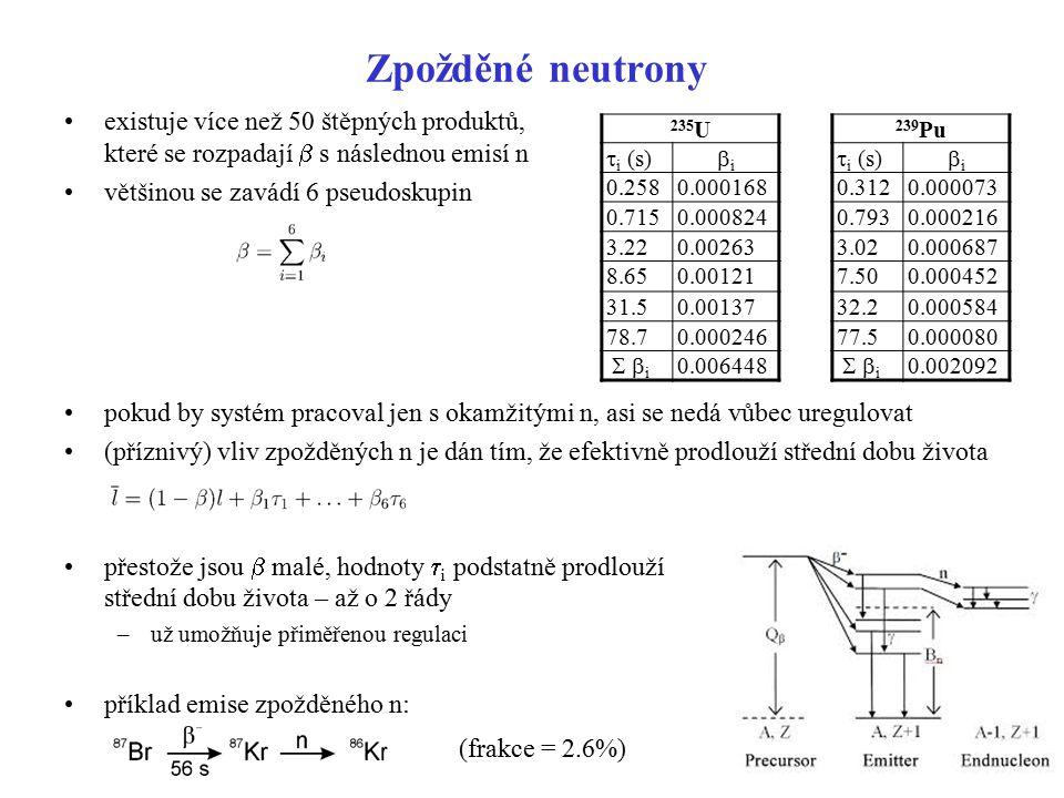 Zpožděné neutrony existuje více než 50 štěpných produktů, které se rozpadají  s následnou emisí n většinou se zavádí 6 pseudoskupin pokud by systém p