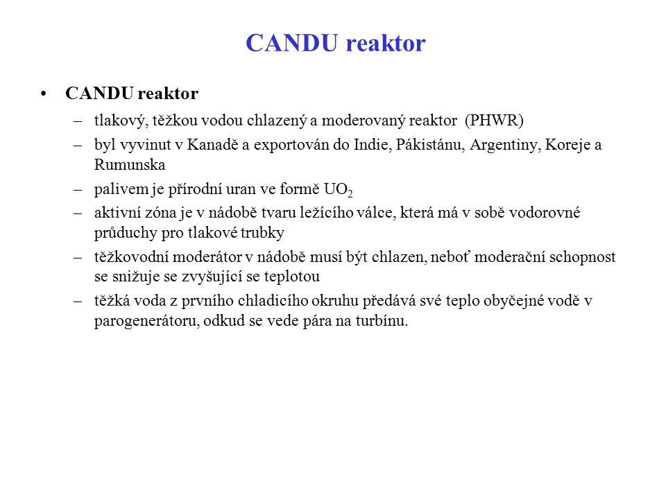 CANDU reaktor –tlakový, těžkou vodou chlazený a moderovaný reaktor (PHWR) –byl vyvinut v Kanadě a exportován do Indie, Pákistánu, Argentiny, Koreje a
