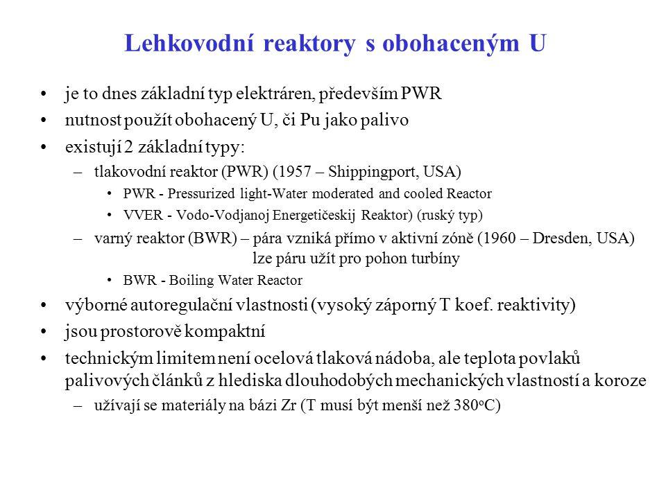 Lehkovodní reaktory s obohaceným U je to dnes základní typ elektráren, především PWR nutnost použít obohacený U, či Pu jako palivo existují 2 základní