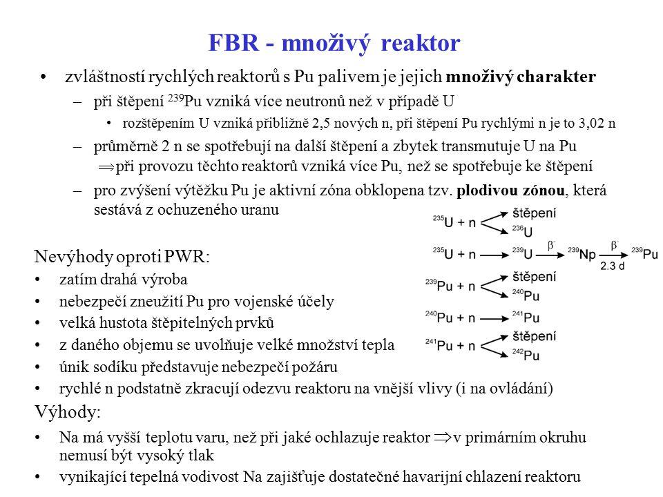 FBR - množivý reaktor zvláštností rychlých reaktorů s Pu palivem je jejich množivý charakter –při štěpení 239 Pu vzniká více neutronů než v případě U