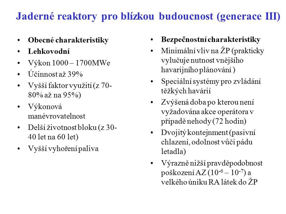 Jaderné reaktory pro blízkou budoucnost (generace III) Obecné charakteristiky Lehkovodní Výkon 1000 – 1700MWe Účinnost až 39% Vyšší faktor využití (z