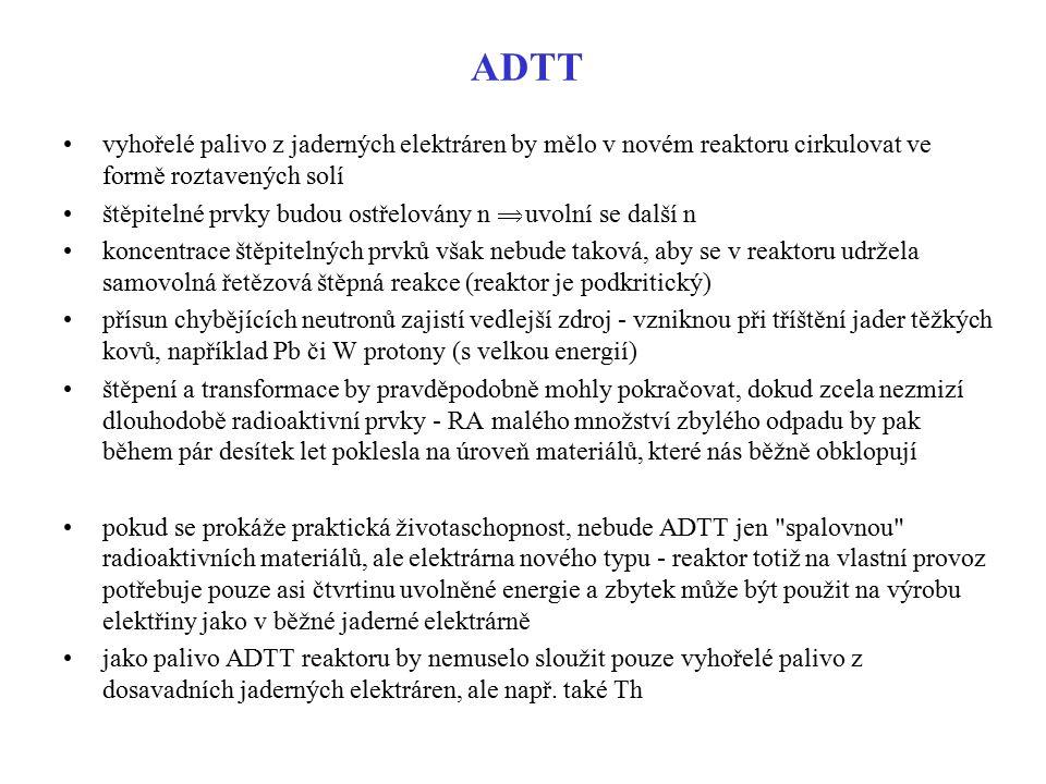 ADTT vyhořelé palivo z jaderných elektráren by mělo v novém reaktoru cirkulovat ve formě roztavených solí štěpitelné prvky budou ostřelovány n  uvoln