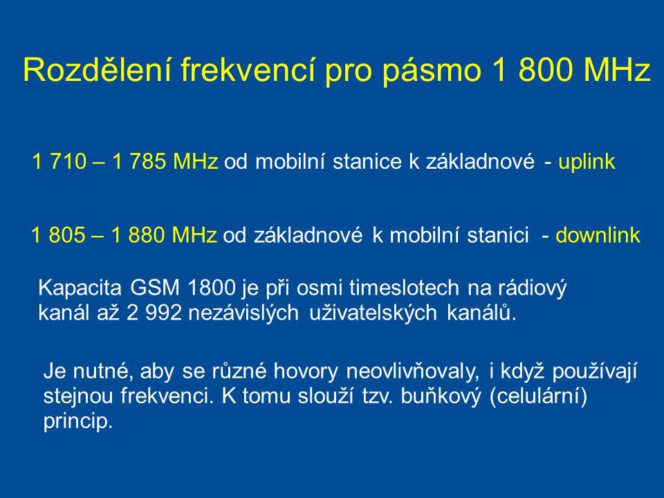 Rozdělení frekvencí pro pásmo 1 800 MHz 1 710 – 1 785 MHz od mobilní stanice k základnové - uplink 1 805 – 1 880 MHz od základnové k mobilní stanici -
