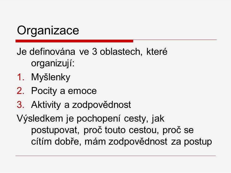 Organizace Je definována ve 3 oblastech, které organizují: 1.Myšlenky 2.Pocity a emoce 3.Aktivity a zodpovědnost Výsledkem je pochopení cesty, jak postupovat, proč touto cestou, proč se cítím dobře, mám zodpovědnost za postup