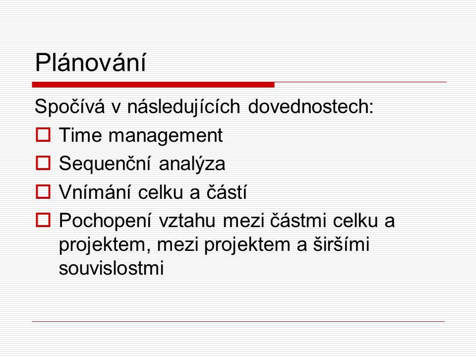 Plánování Spočívá v následujících dovednostech:  Time management  Sequenční analýza  Vnímání celku a částí  Pochopení vztahu mezi částmi celku a projektem, mezi projektem a širšími souvislostmi