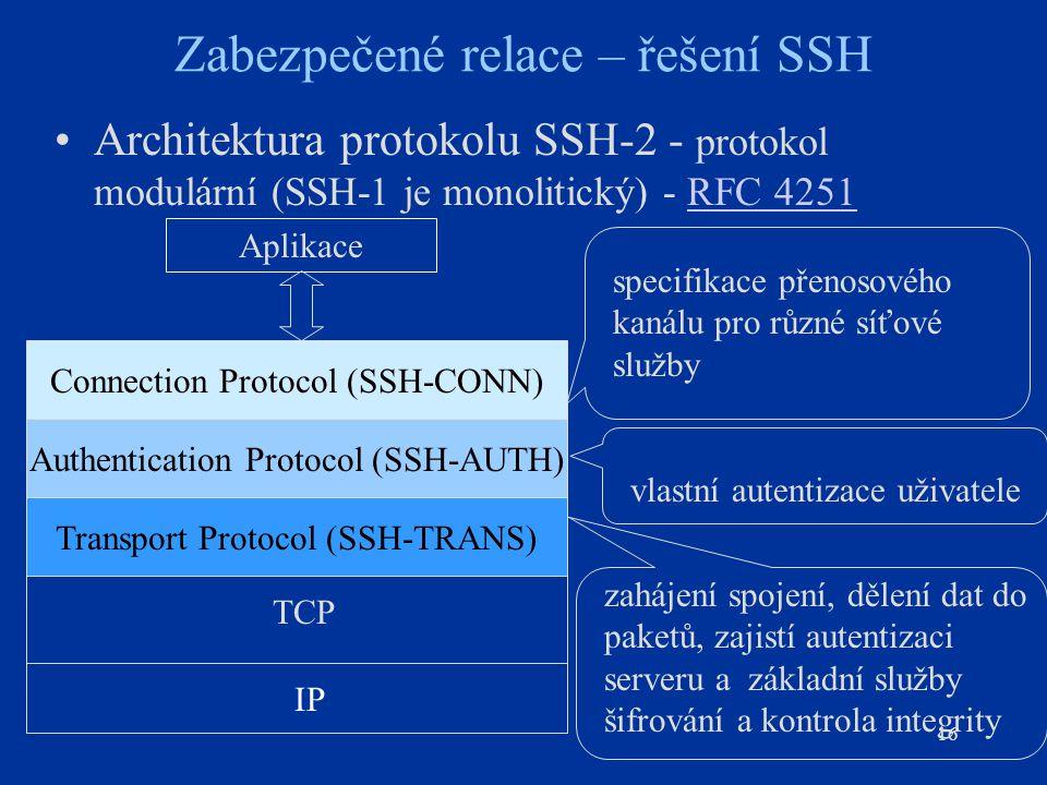 16 Zabezpečené relace – řešení SSH Architektura protokolu SSH-2 - protokol modulární (SSH-1 je monolitický) - RFC 4251RFC 4251 Connection Protocol (SS