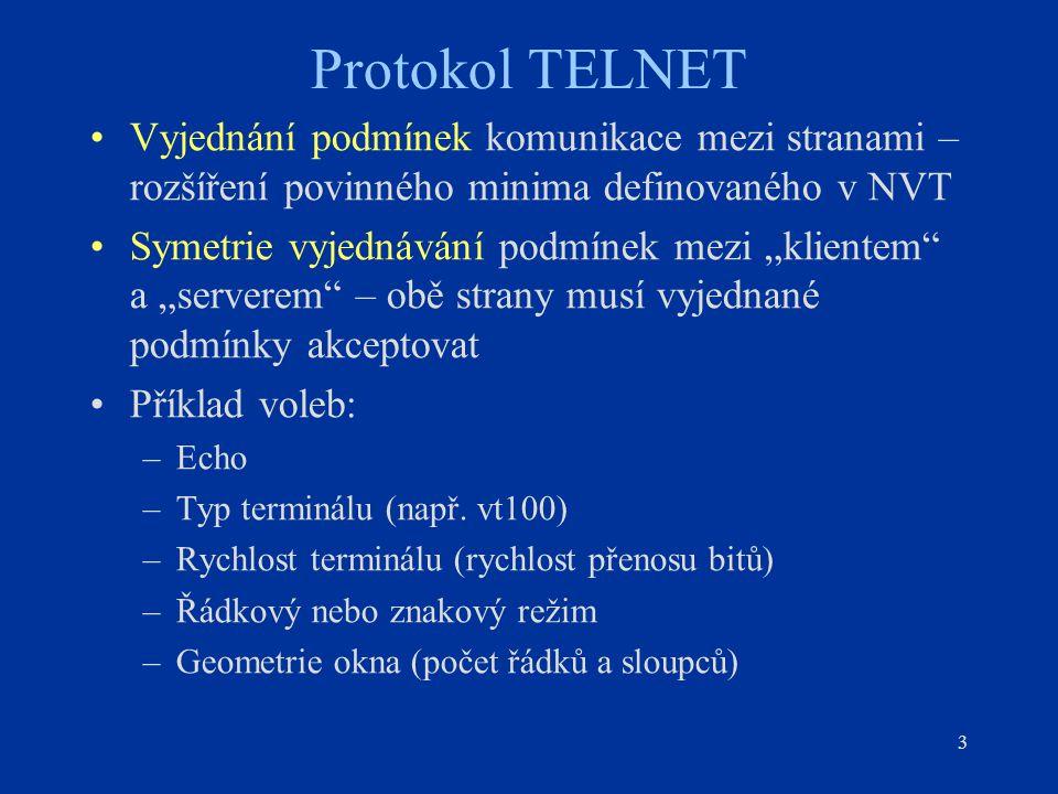 """3 Protokol TELNET Vyjednání podmínek komunikace mezi stranami – rozšíření povinného minima definovaného v NVT Symetrie vyjednávání podmínek mezi """"klie"""