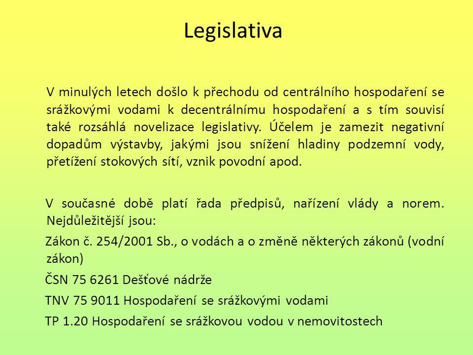 Legislativa V minulých letech došlo k přechodu od centrálního hospodaření se srážkovými vodami k decentrálnímu hospodaření a s tím souvisí také rozsáhlá novelizace legislativy.