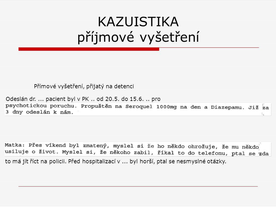 KAZUISTIKA příjmové vyšetření Přímové vyšetření, přijatý na detenci Odeslán dr.... pacient byl v PK.. od 20.5. do 15.6... pro to má jít říct na polici