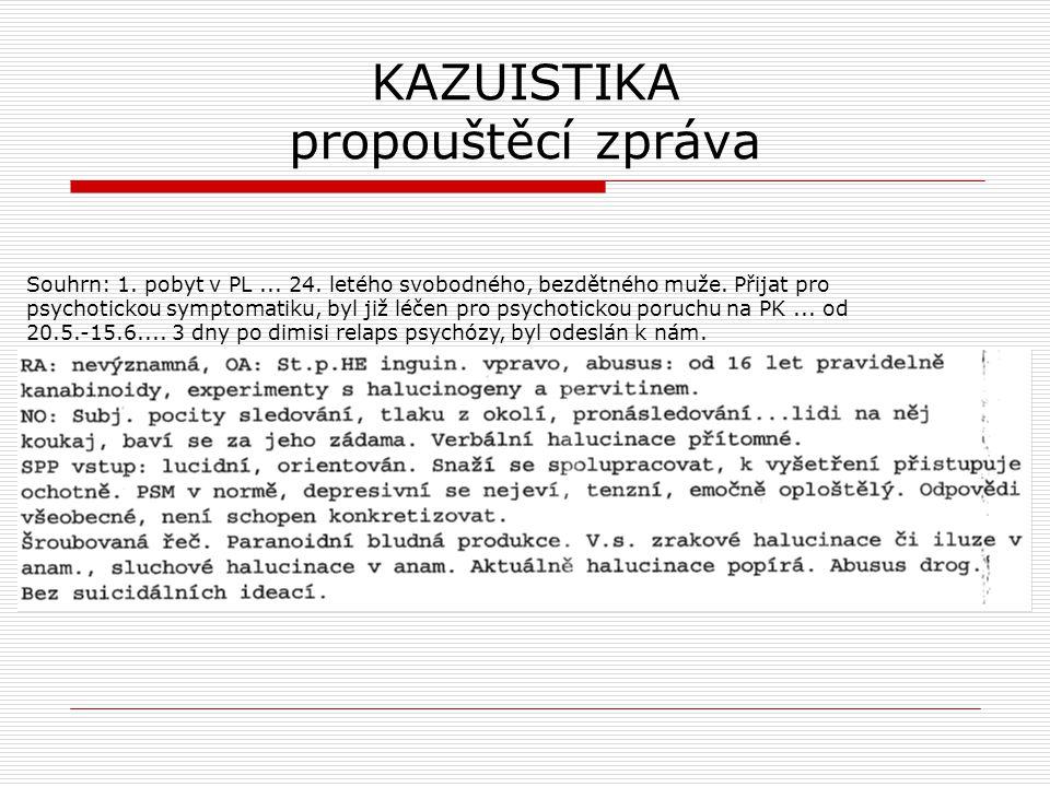 KAZUISTIKA propouštěcí zpráva Souhrn: 1. pobyt v PL... 24. letého svobodného, bezdětného muže. Přijat pro psychotickou symptomatiku, byl již léčen pro