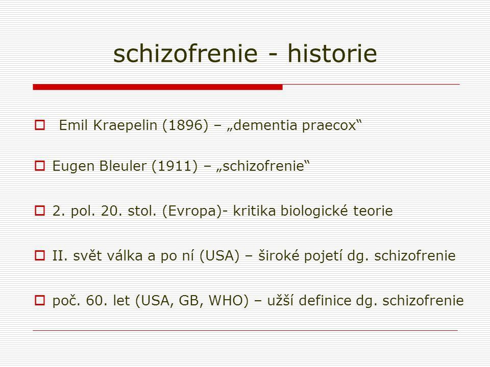 "schizofrenie - historie  Emil Kraepelin (1896) – ""dementia praecox""  Eugen Bleuler (1911) – ""schizofrenie""  2. pol. 20. stol. (Evropa)- kritika bio"