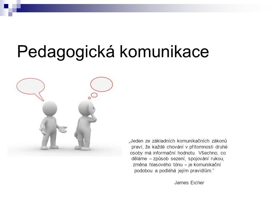 """Pedagogická komunikace """"Jeden ze základních komunikačních zákonů praví, že každé chování v přítomnosti druhé osoby má informační hodnotu."""