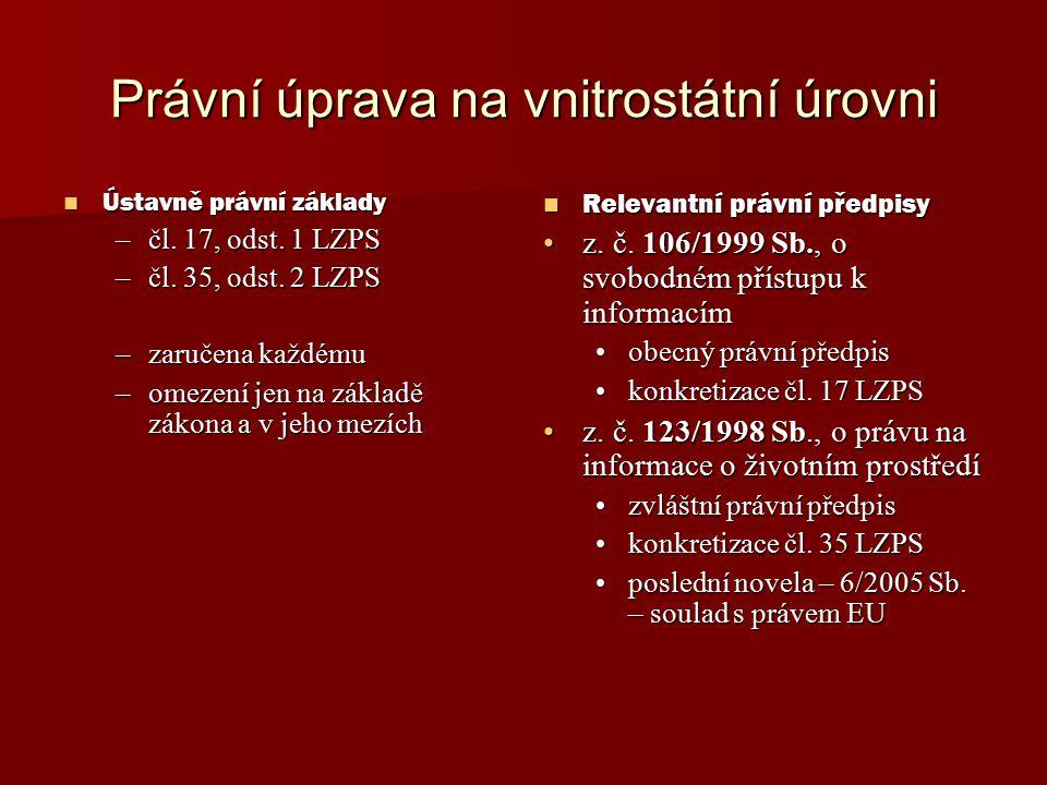 Právní úprava na vnitrostátní úrovni Ústavně právní základy Ústavně právní základy –čl.
