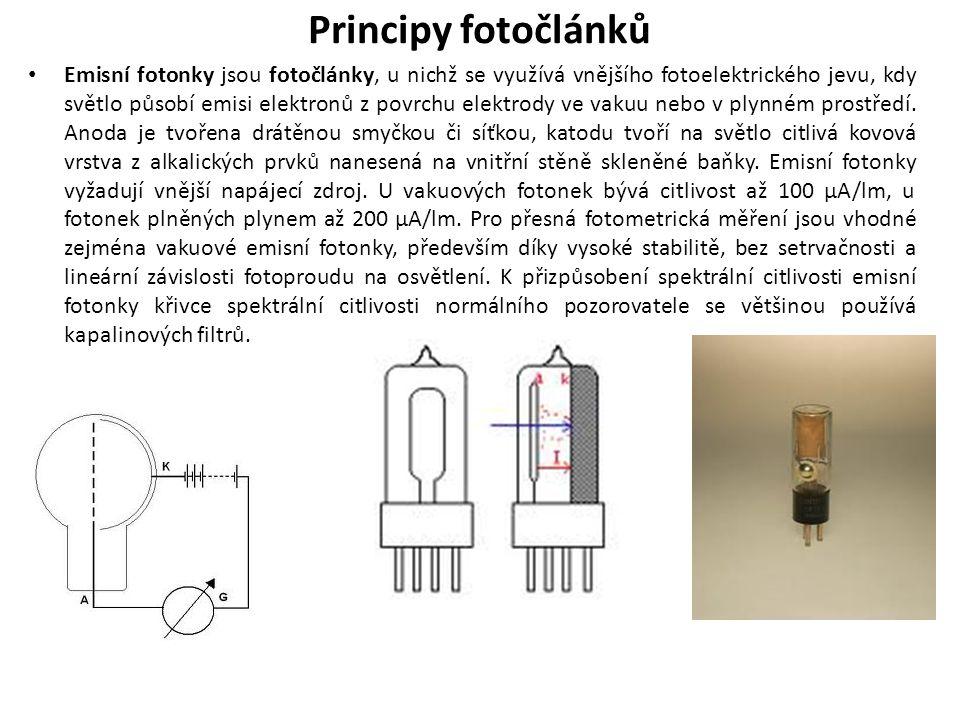 Principy fotočlánků Emisní fotonky jsou fotočlánky, u nichž se využívá vnějšího fotoelektrického jevu, kdy světlo působí emisi elektronů z povrchu elektrody ve vakuu nebo v plynném prostředí.